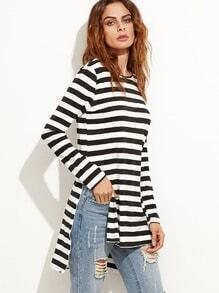 Black And White Striped High Low T-Shirt