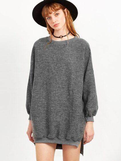 Grey Split Side High Low Sweatshirt Dress