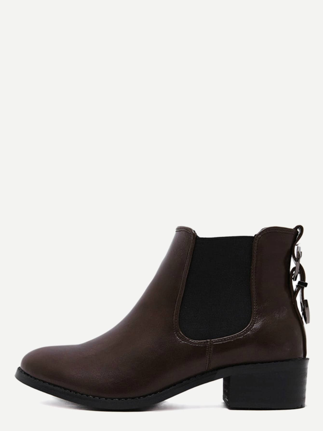 Brown Faux Leather Almond Toe Elastic Buckle Strap Boots