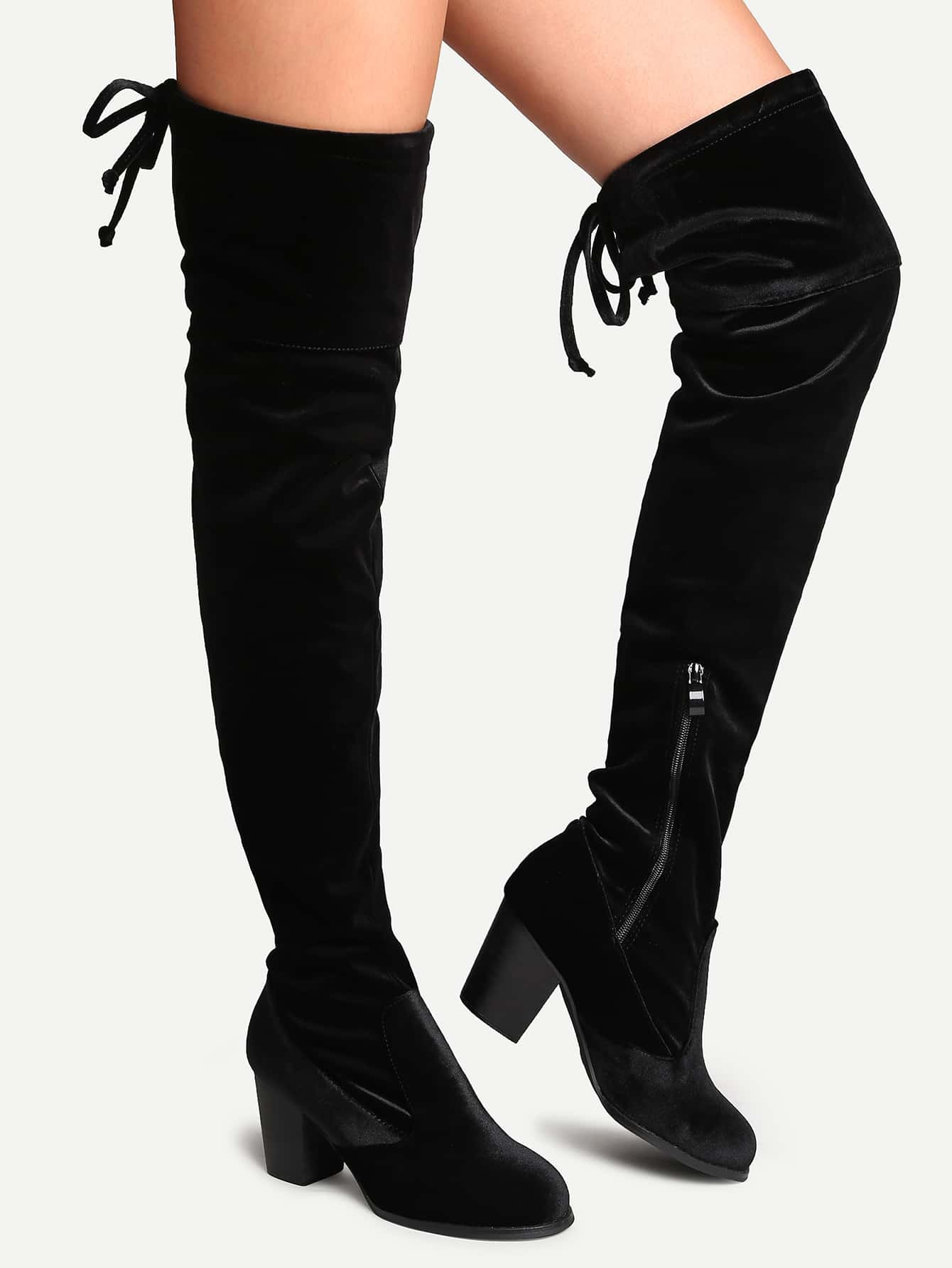 black velvet almond toe tie back thigh high boots