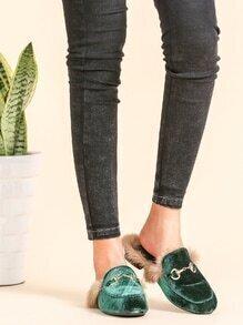 Pantuflas de terciopelo con forro de piel - verde oscuro