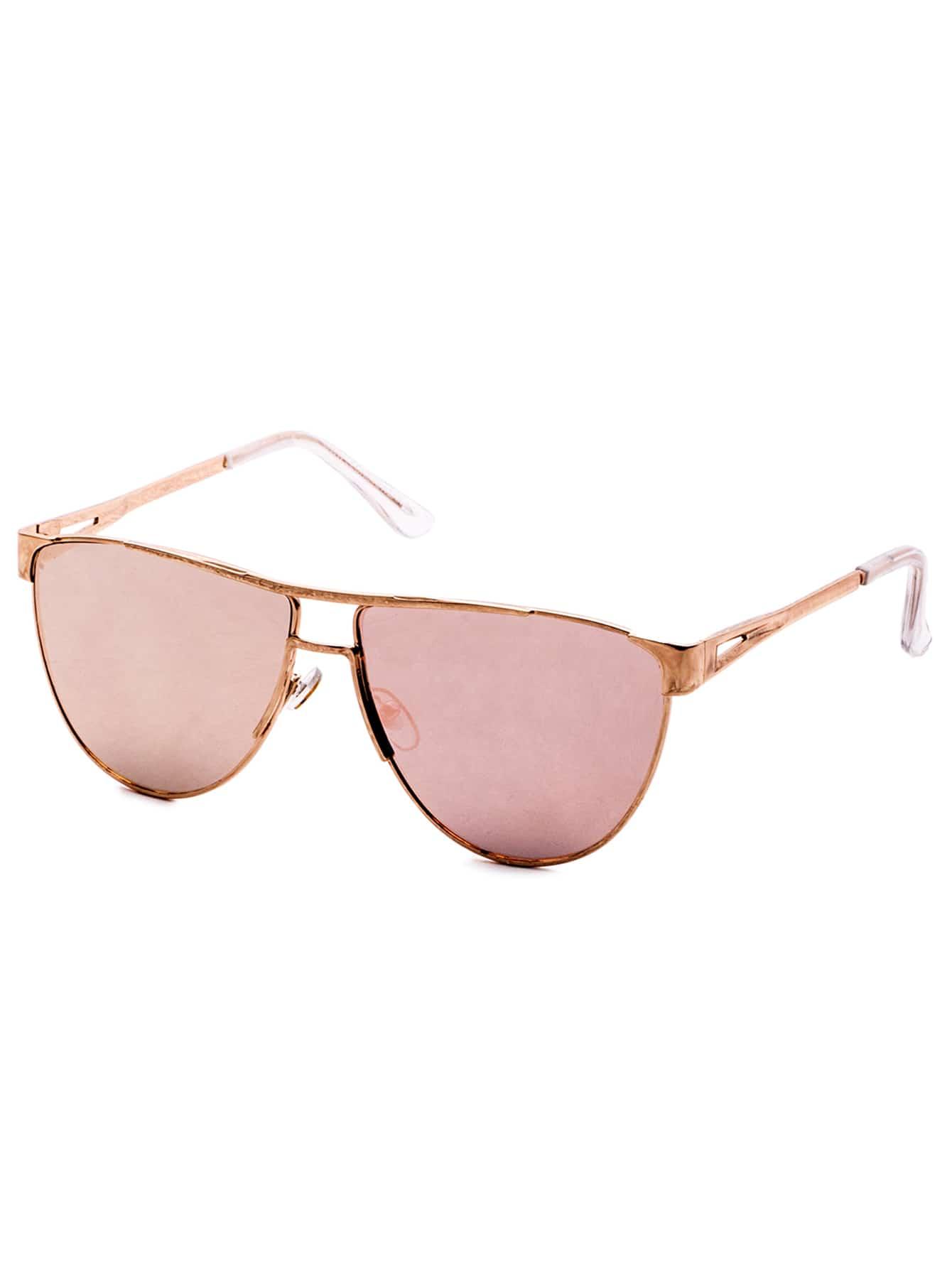 Gold Frame Double Bridge Pink Lens Sunglasses