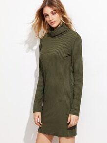 Army Green High Neck Ribbed Sheath Dress