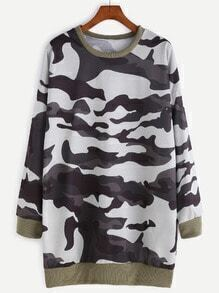 Camo Print Contrast Trim Sweatshirt Dress