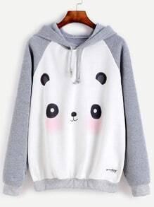Sweat-shirt contrasté imprimé panda avec capuche manche raglan