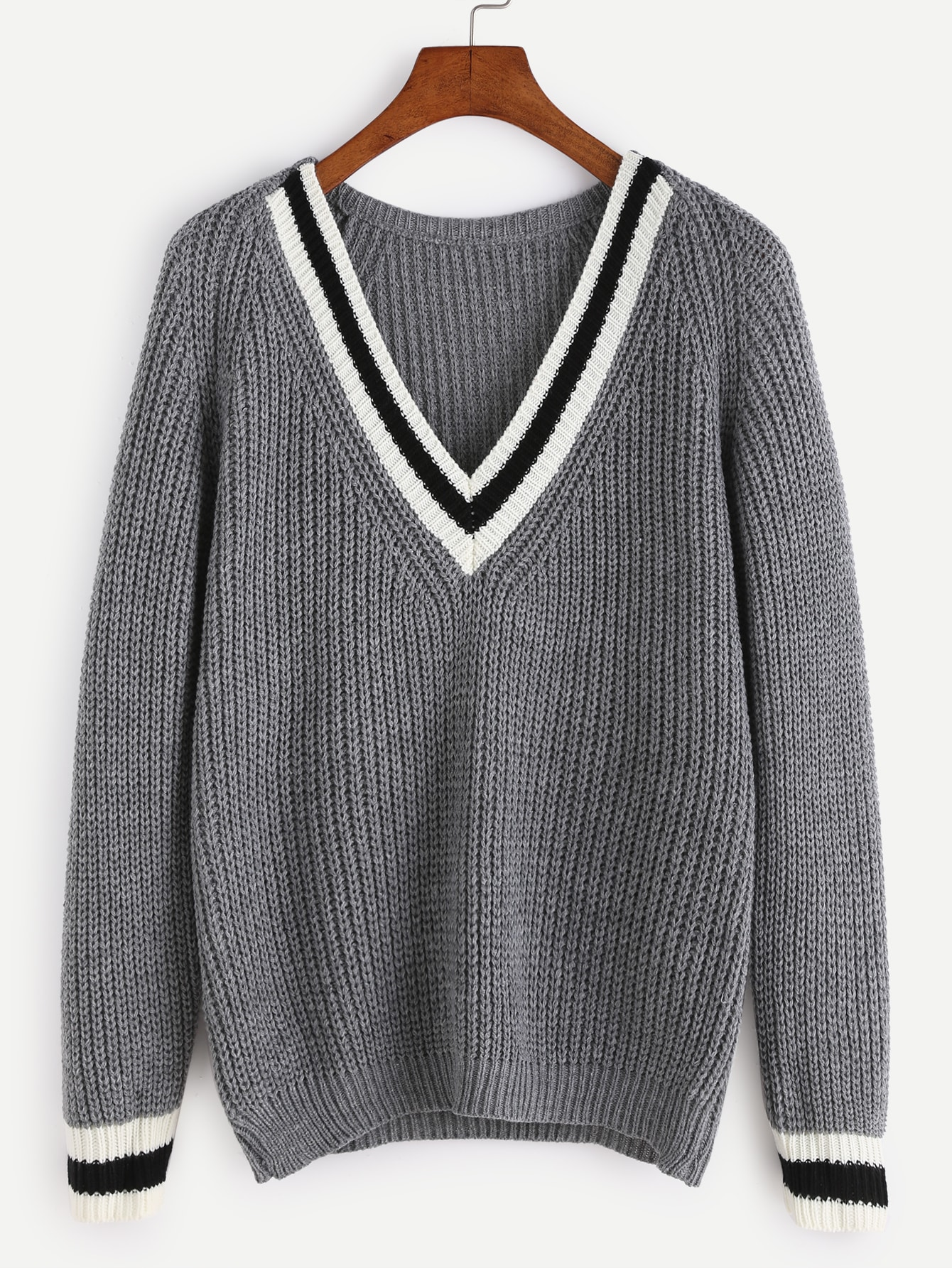 Grey V Neck Striped Trim Raglan Sleeve Sweater RKNI161010005
