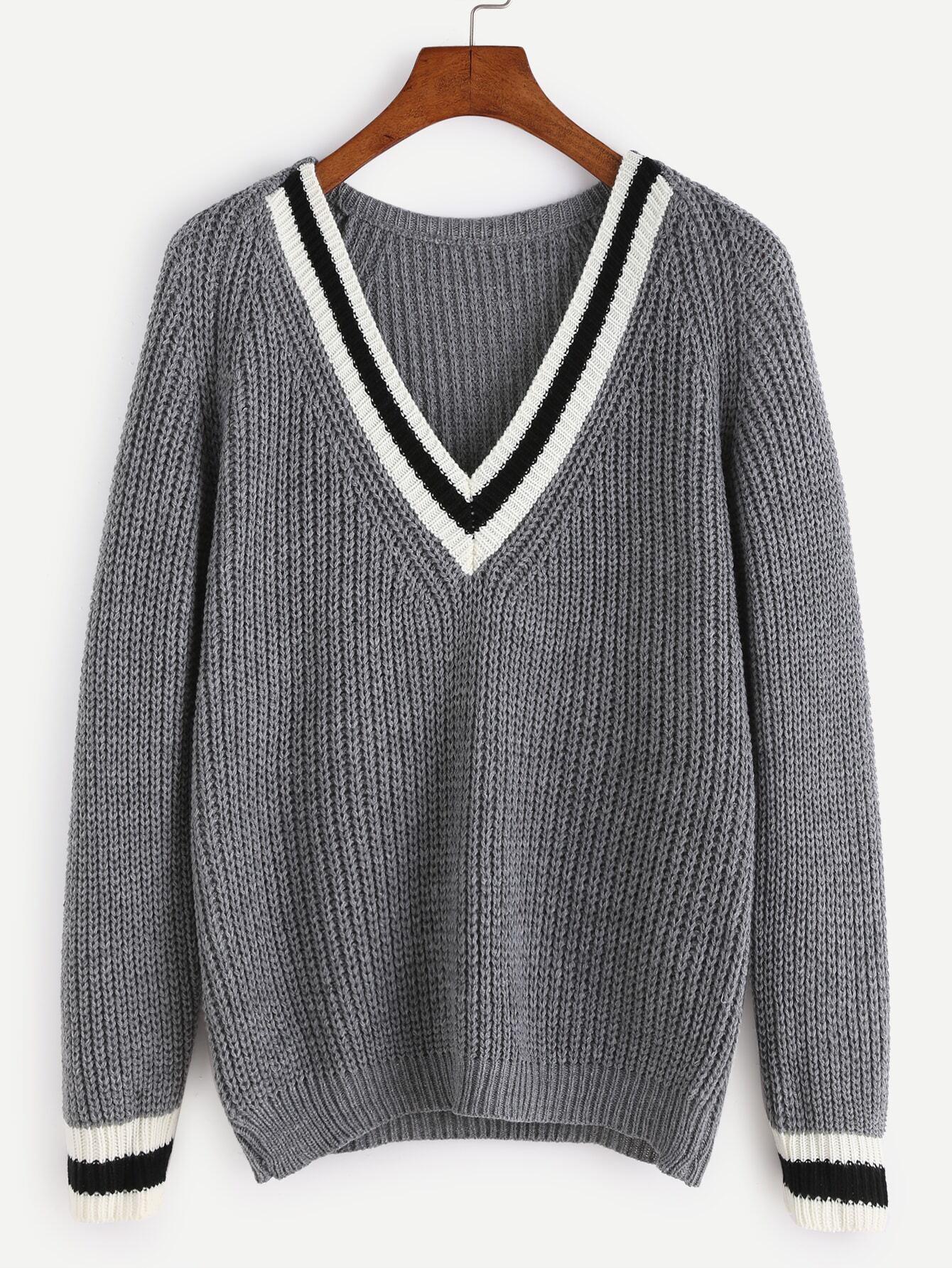 Grey V Neck Striped Trim Raglan Sleeve Sweater