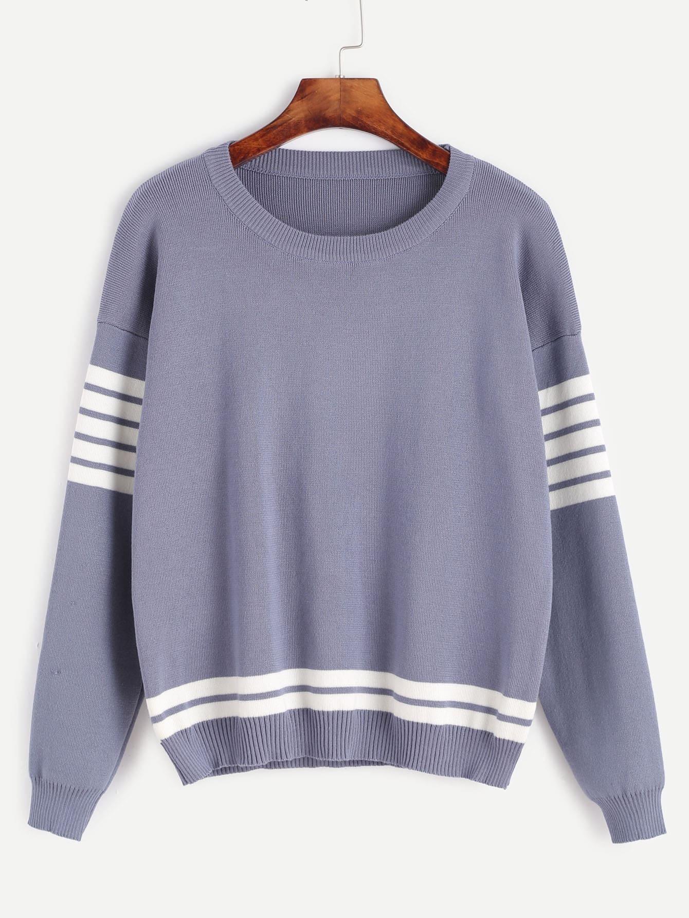 Dropped Shoulder Seam Striped Trim Sweater RKNI161010006