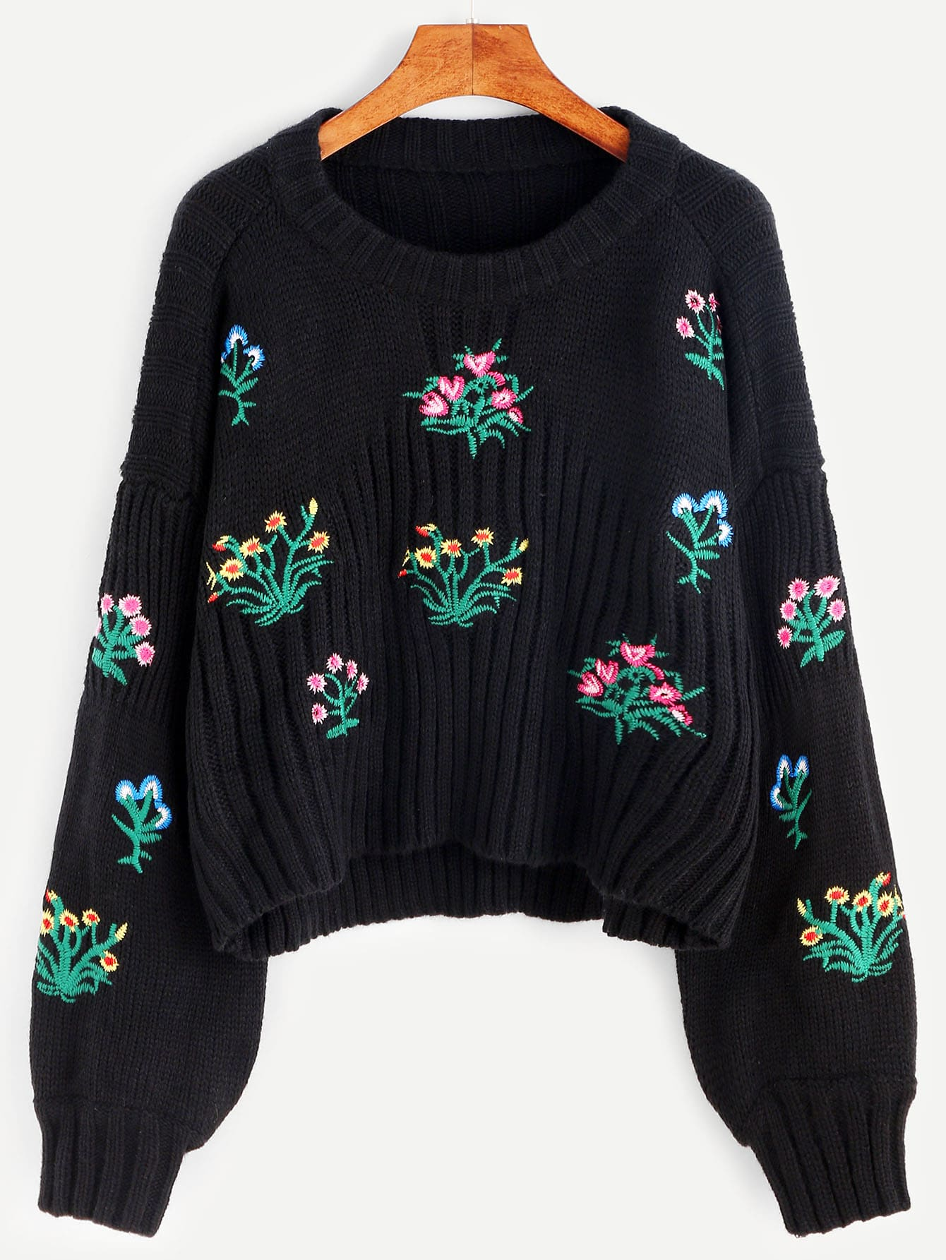 Black Drop Shoulder Lantern Sleeve Flower Embroidery Sweater