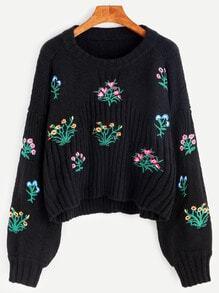 Black Drop Shoulder Lantern Sleeve Flower Embroidery Sweater