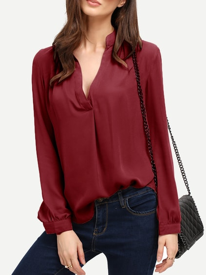 Burgundy V Neck Curved Hem Blouse