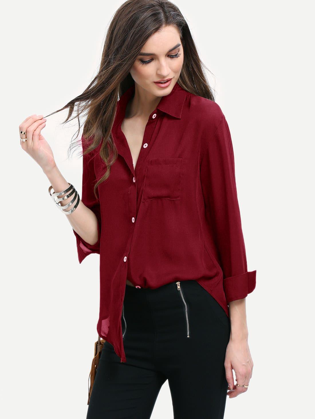Burgundy Curved Hem Pocket Shirt