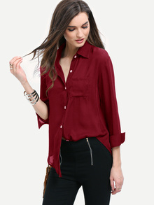 Blusa con bajo redondeado y bolsillo - borgoña