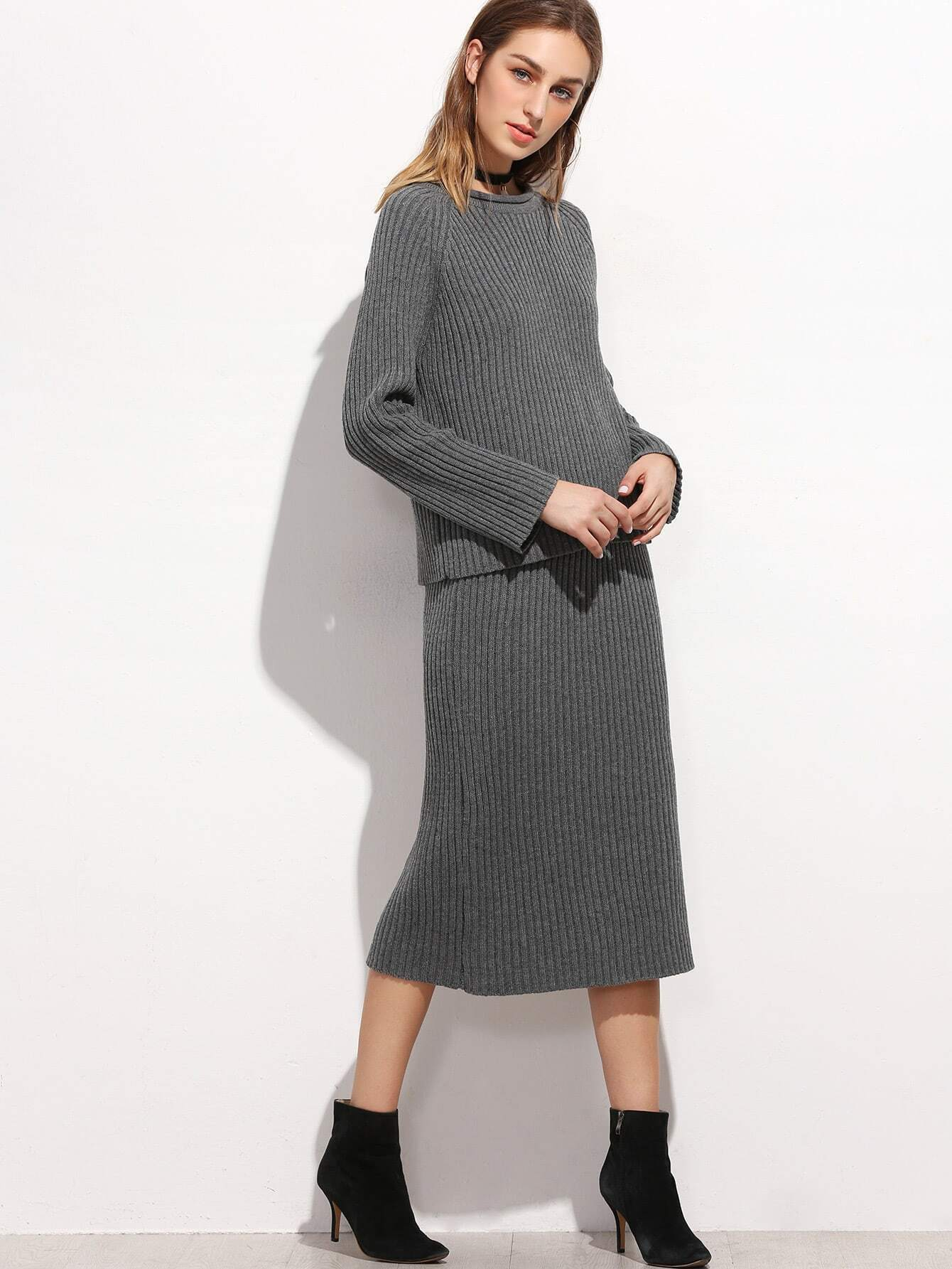 Dark Grey Raglan Sleeve Ribbed Sweater With Skirt twopiece161007101
