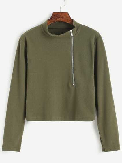 Army Green Mock Neck Zip Front T-shirt