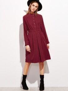 Elastishe Taille Taschen A Line Hemdkleid-burgund rot