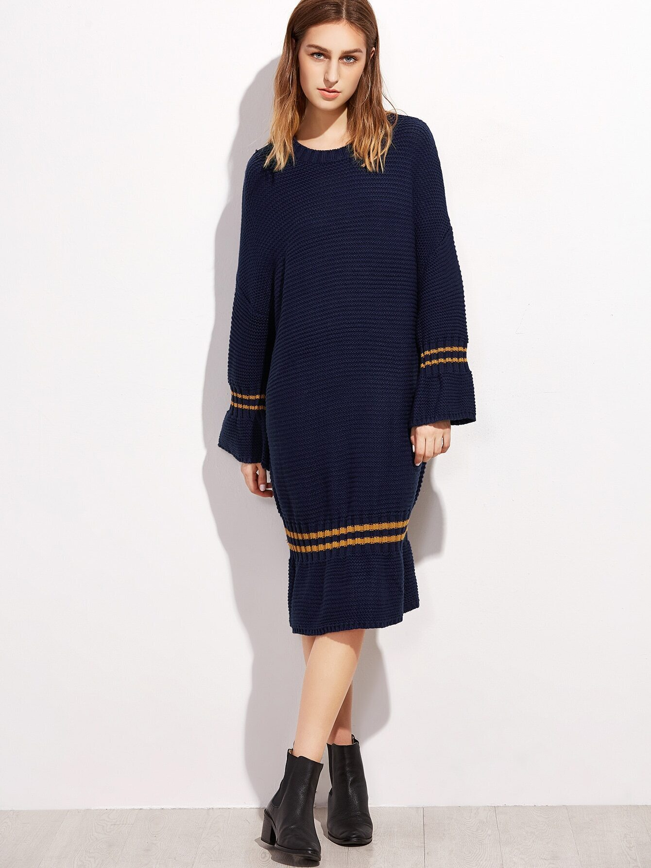 Navy Striped Trim Drop Shoulder Seam Sweater Dress dress161007101