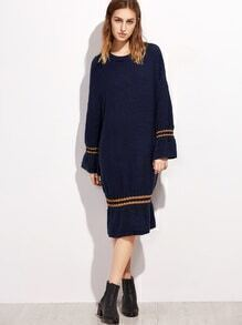 Robe pull à rayure - bleu marine