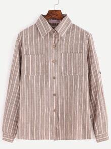 Vertical Striped Pockets Button Shirt