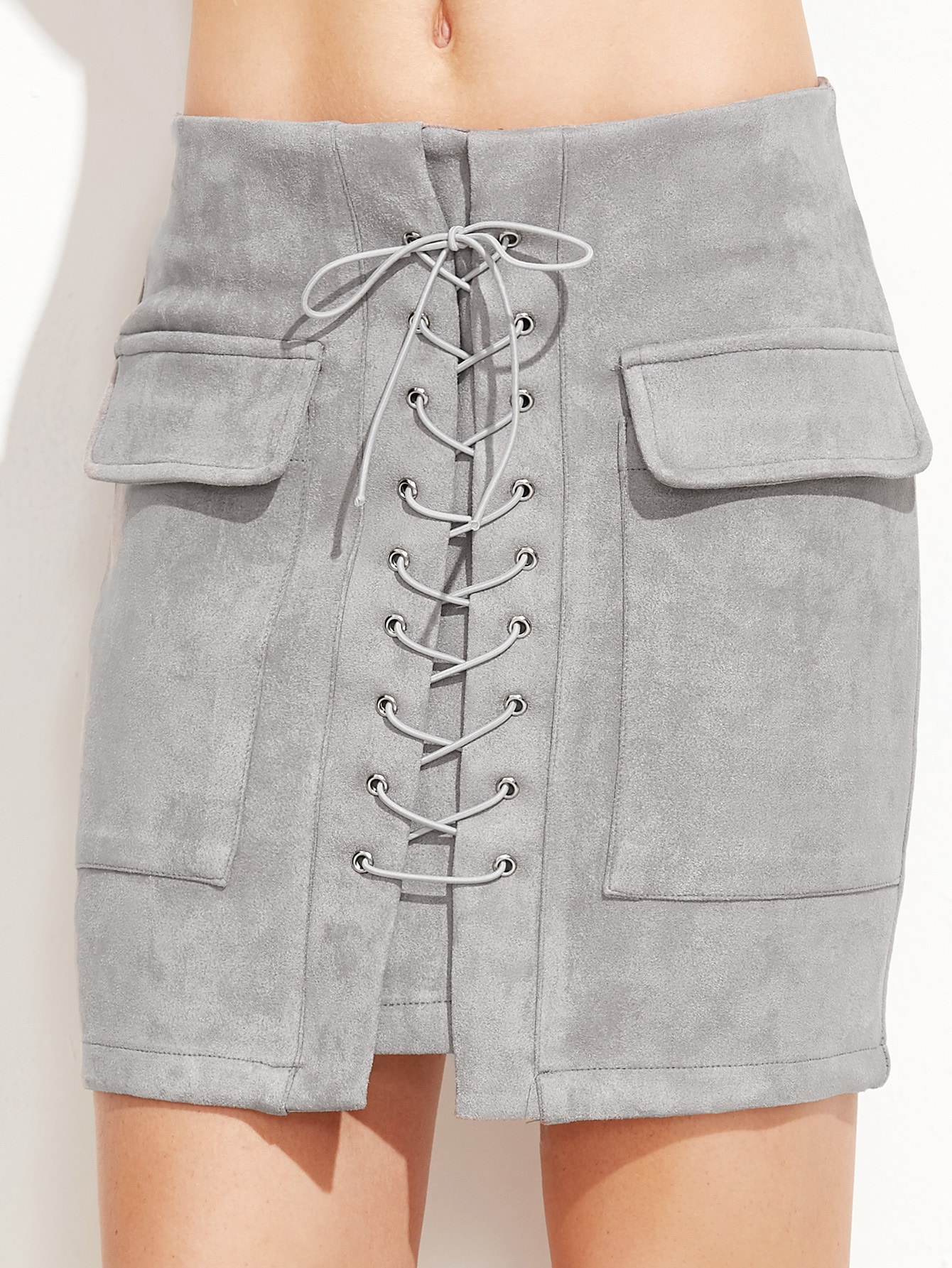 Light Grey Suede Lace Up Front Pockets Bodycon Skirt