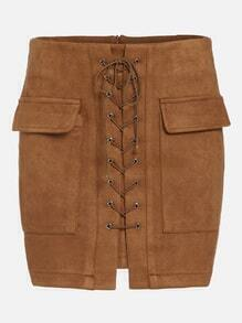 Khaki Suede Lace Up Front Pockets Bodycon Skirt