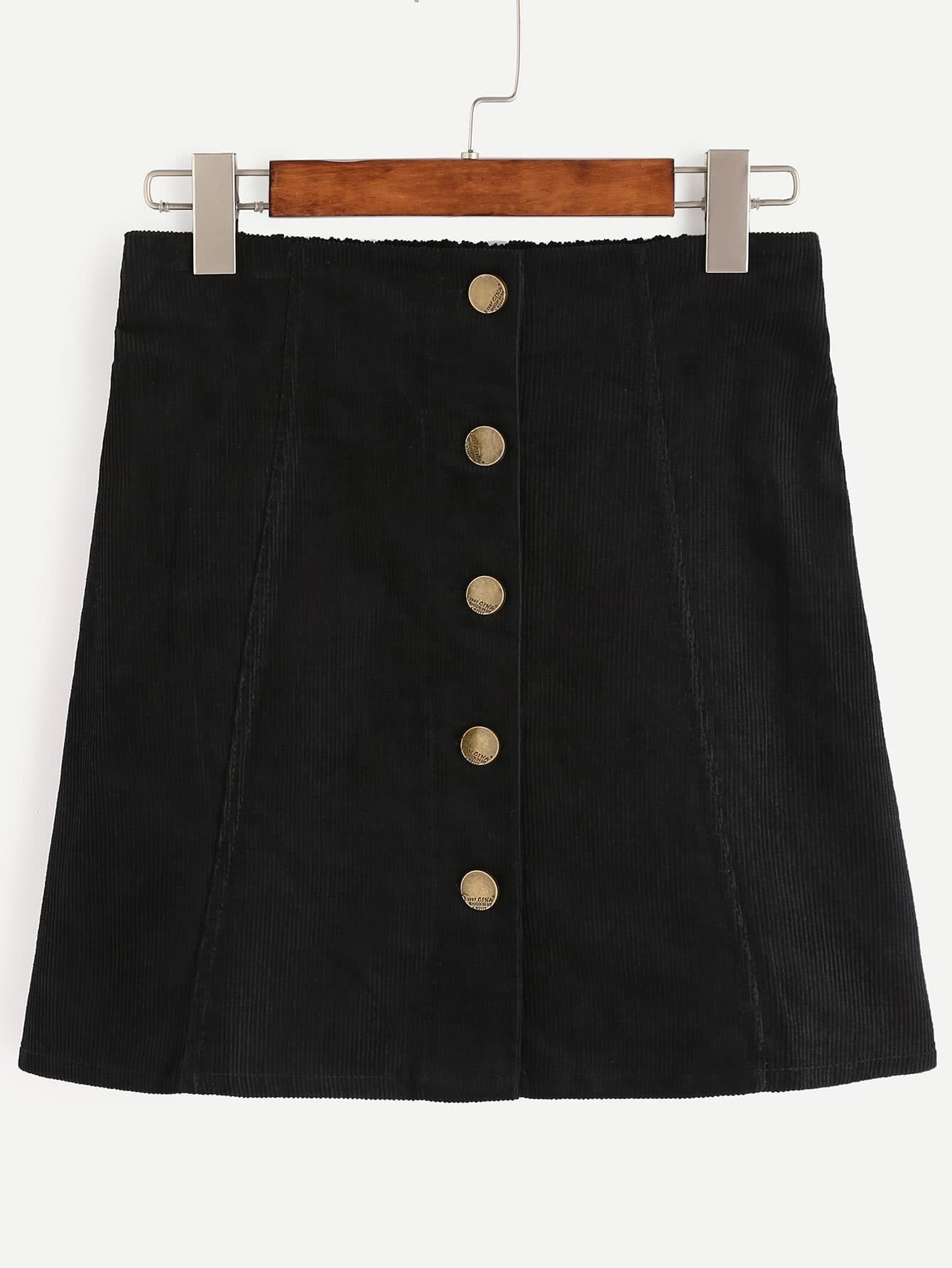 black corduroy single breasted a line skirt