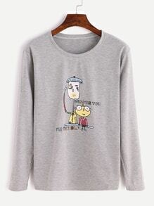 Heather Grey Cartoon Print T-shirt