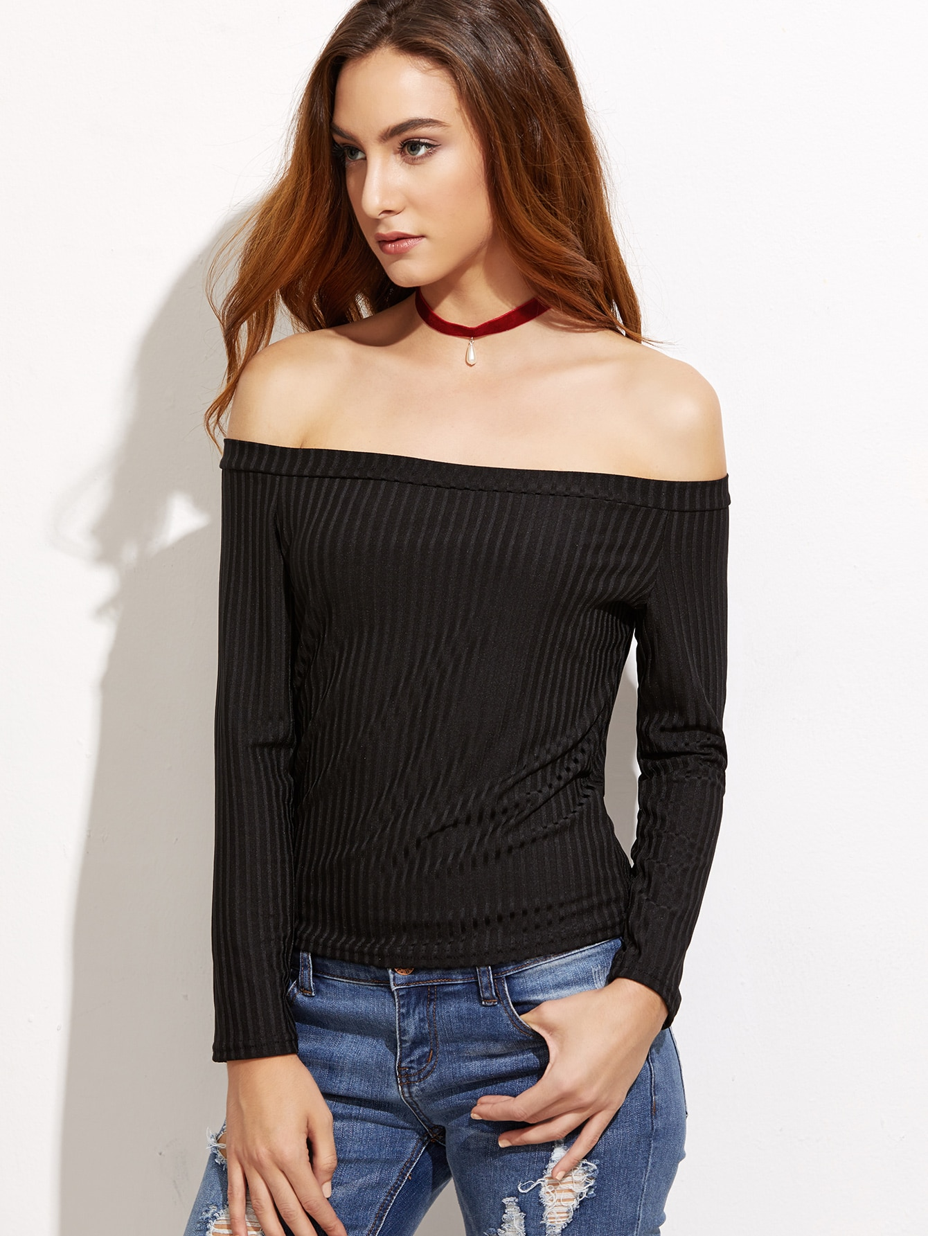 Black Off The Shoulder Ribbed T-shirt RTSH161011109