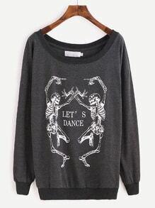 Sweatshirt Drop Schulter Stehkragen Druck-schwarz