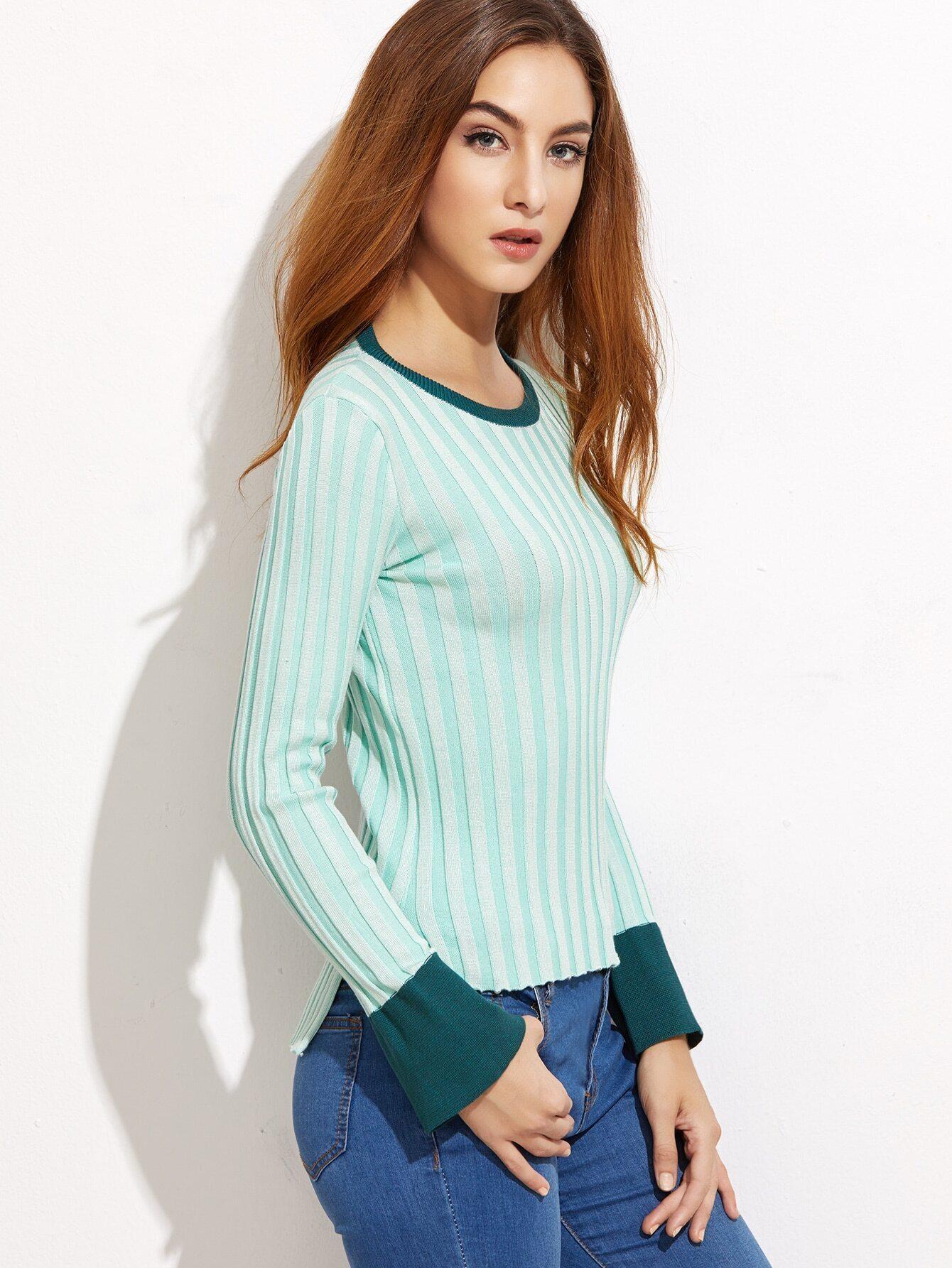 Pale Green Contrast Trim Slit Side Ribbed Knitwear RKNI161011102