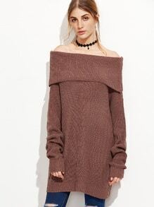 Brown Fold Over Boat Neck Sweater