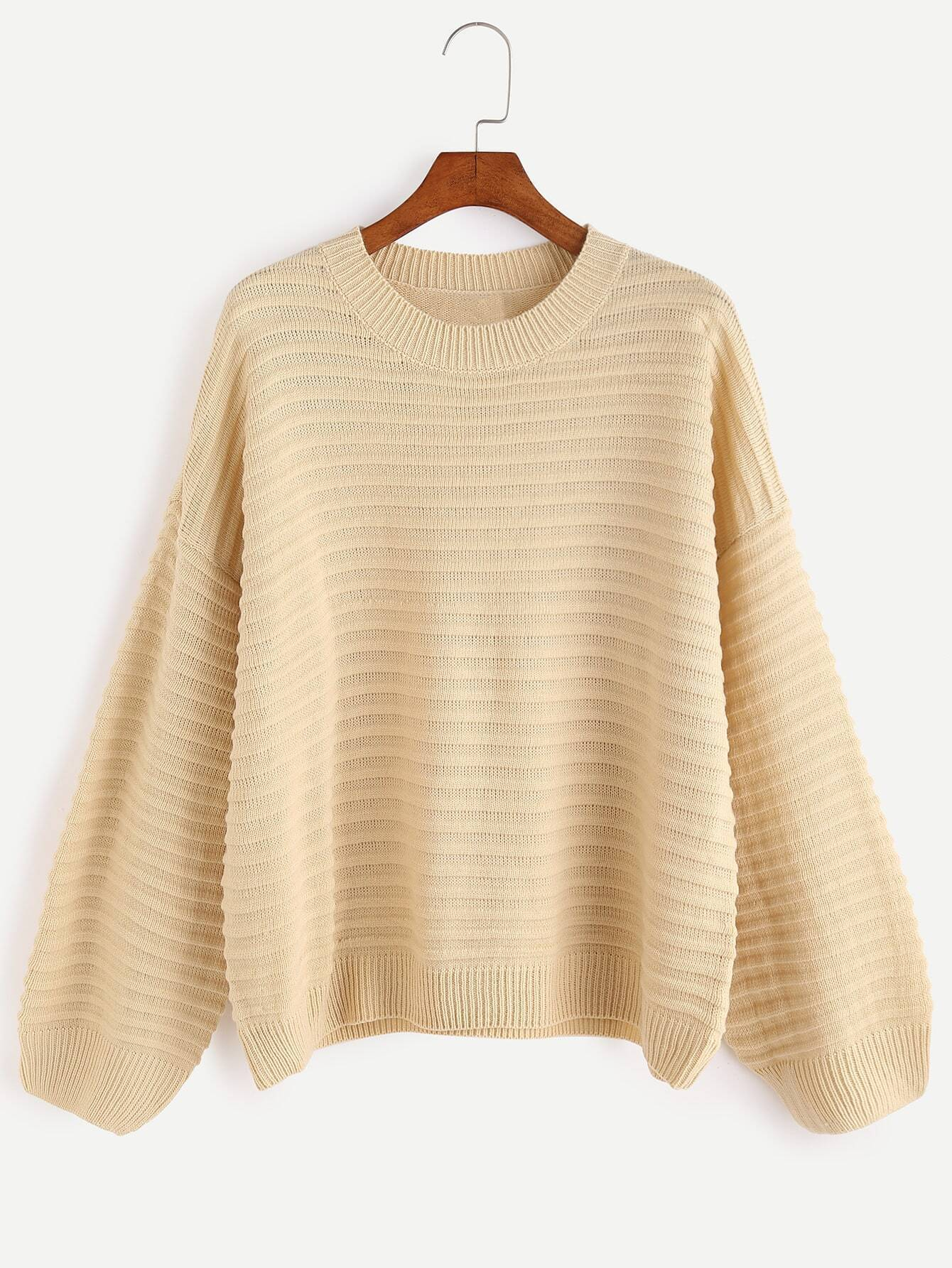 Apricot Dropped Shoulder Seam Ribbed Knit Sweater RKNI161011106