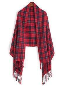 Red Plaid Long Fringe Edge Scarf