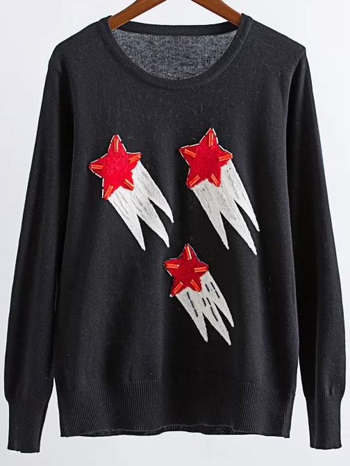 Black Star Pattern Round Neck Ribbed Trim Sweater