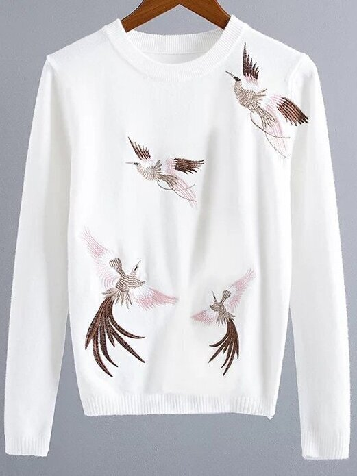 White Crane Embroidery Ribbed Trim Sweater