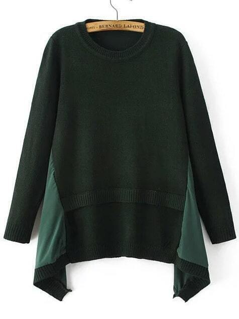Dark Green Ribbed Trim Asymmetrical Hem Sweater sweater161011217