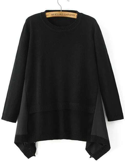 Black Ribbed Trim Asymmetrical Hem Sweater