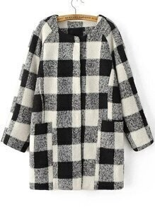 Black And White Plaid Raglan Sleeve Hidden Button Coat