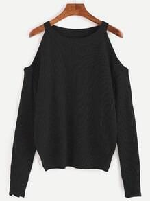Jersey de punto con hombros abiertos - negro
