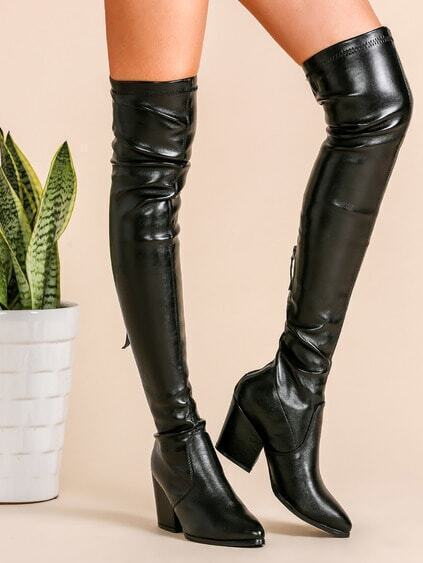 Black PU Point Toe Thigh High Back Zipper Chunky Boots