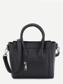 Black PU Front Zipper Handbag With Strap