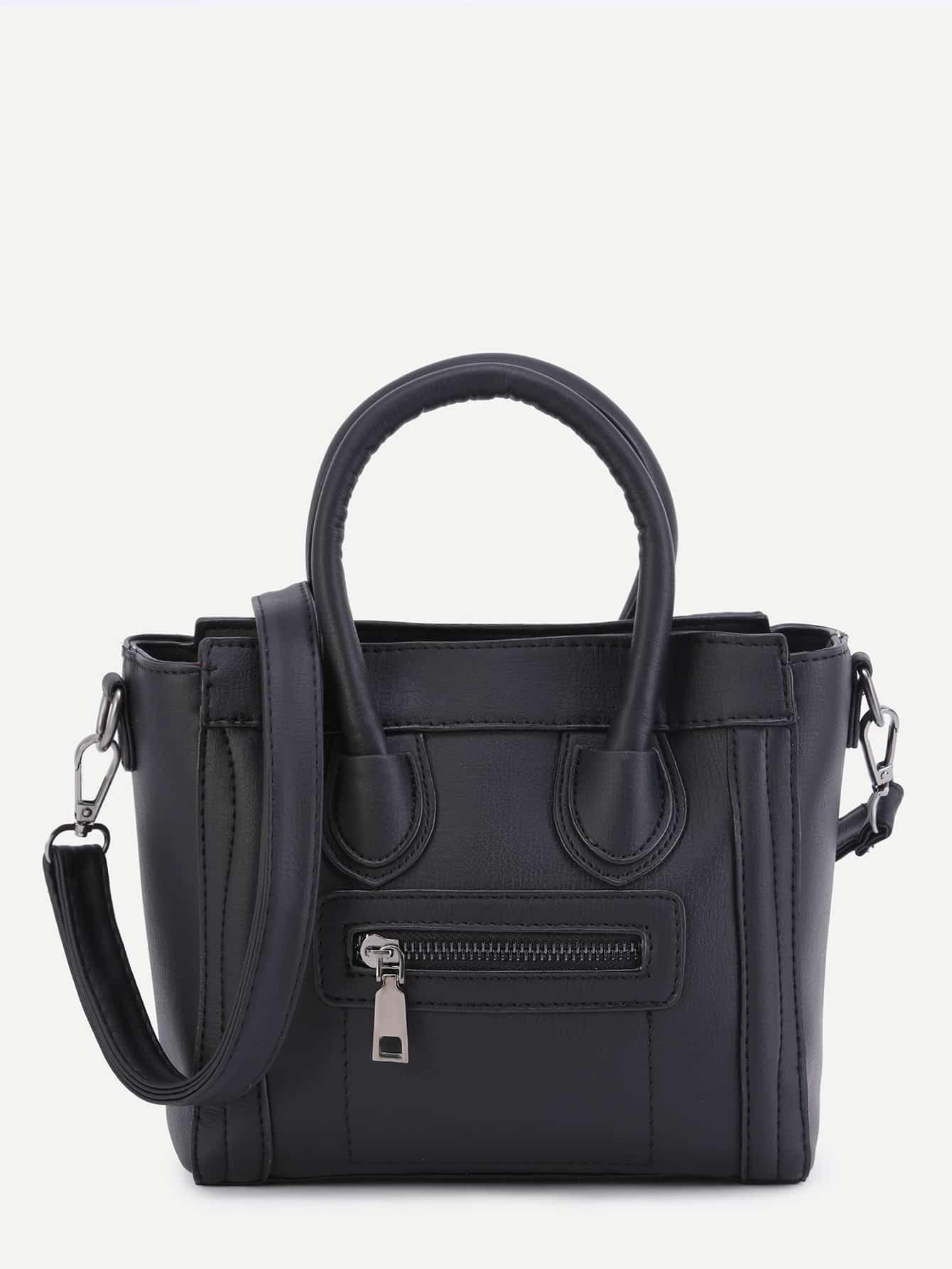 Black PU Front Zipper Handbag Strap