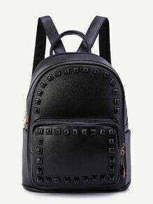 Black Rivet PU Front Pocket Backpack