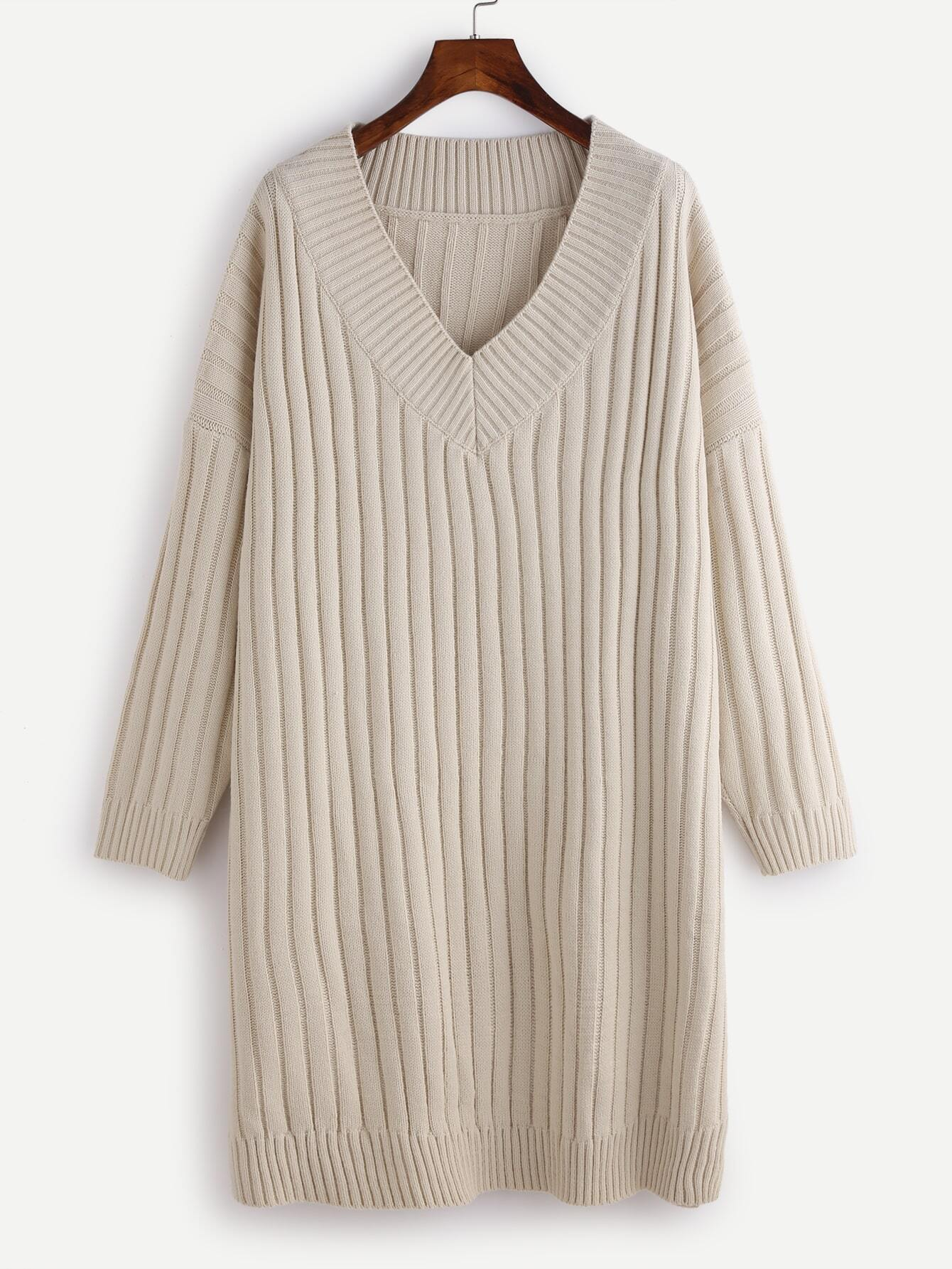 Apricot V Neck Drop Shoulder Ribbed Knit Sweater Dress