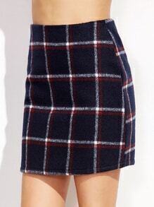 Navy Plaid Zipper Back Skirt