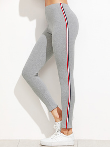 Light Grey Striped Side Leggings