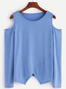 Camiseta asimétrica con hombros abiertos - azul