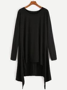 Camiseta asimétrica suelta larga - negro