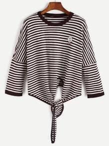 Jersey de rayas con hombros caídos cordón en la parte delantera