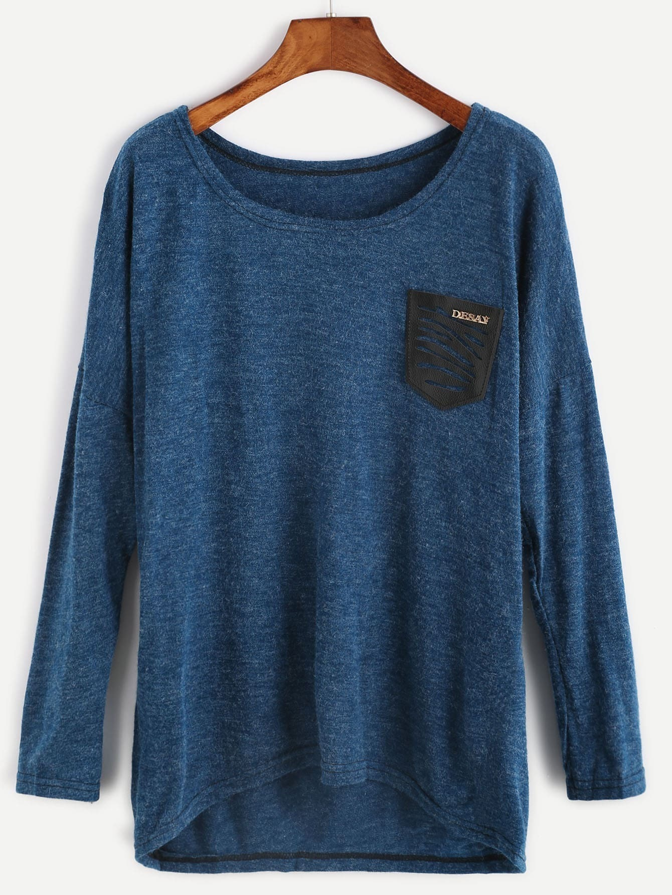 Dropped Shoulder Seam Dip Hem Pocket Knitwear RKNI161012004